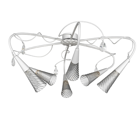 Потолочная люстра Lightstar Aereo 711060, 6xG9x25W, белый, прозрачный, металл, стекло, хрусталь