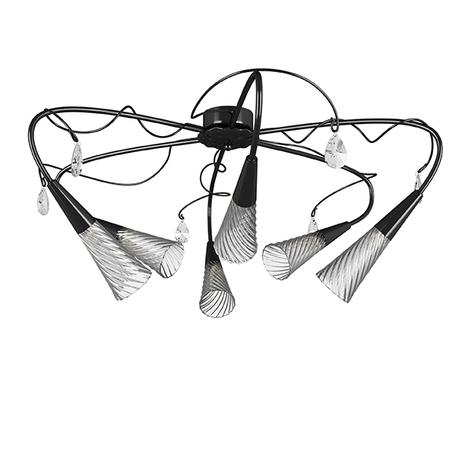 Потолочная люстра Lightstar Aereo 711067, 6xG9x25W, черный, прозрачный, металл, стекло, хрусталь