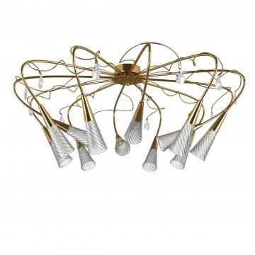 Потолочная люстра Lightstar Aereo 711122, 12xG9x25W, золото, прозрачный, металл, стекло, хрусталь