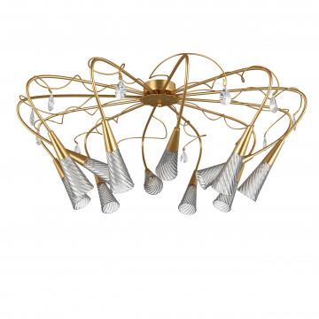 Потолочная люстра Lightstar Aereo 711123, 12xG9x25W, матовое золото, прозрачный, металл, стекло, хрусталь