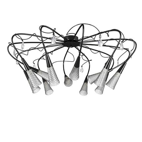 Потолочная люстра Lightstar Aereo 711127, 12xG9x25W, черный, прозрачный, металл, стекло, хрусталь