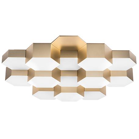 Потолочная светодиодная люстра Lightstar Favo 750163, IP40, LED 80W, 4000K (дневной), матовое золото, белый, металл, пластик