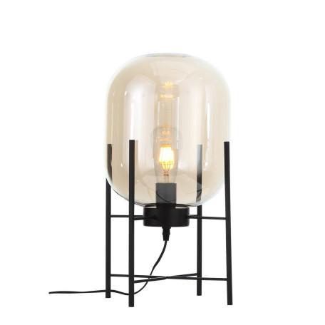 Настольная лампа ST Luce Burasca SL1050.505.01, 1xE27x40W, черный, коньячный, металл, стекло