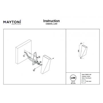 Схема с размерами Maytoni O580WL-L6W