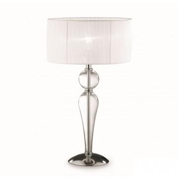Настольная лампа Ideal Lux DUCHESSA TL1 BIG 044491 SALE, 1xE27x60W, прозрачный, хром, белый, металл, стекло, текстиль