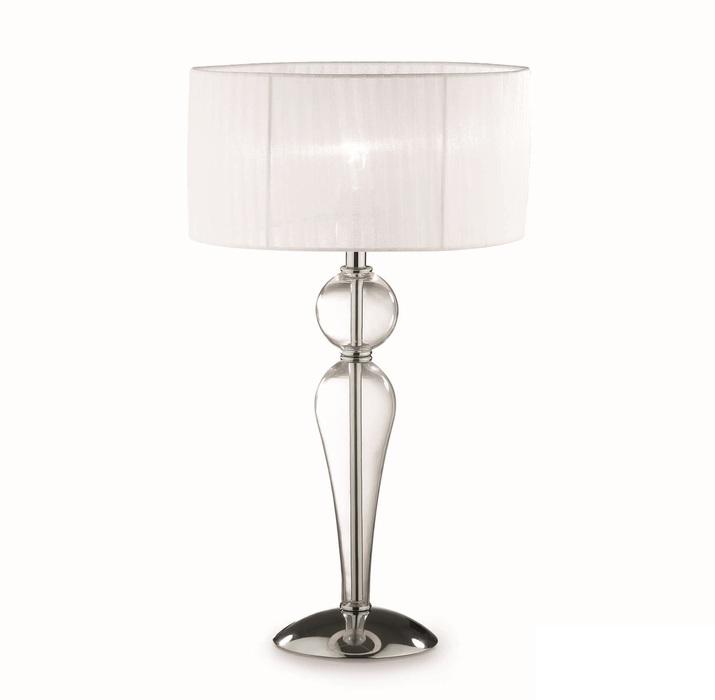 Настольная лампа Ideal Lux DUCHESSA TL1 BIG 044491 SALE, 1xE27x60W, прозрачный, хром, белый, металл, стекло, текстиль - фото 1