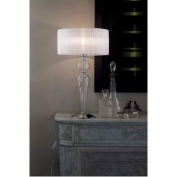 Настольная лампа Ideal Lux DUCHESSA TL1 BIG 044491 SALE, 1xE27x60W, прозрачный, хром, белый, металл, стекло, текстиль - миниатюра 2