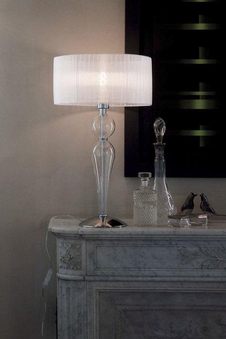 Настольная лампа Ideal Lux DUCHESSA TL1 BIG 044491 SALE, 1xE27x60W, прозрачный, хром, белый, металл, стекло, текстиль - фото 2