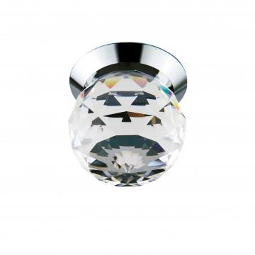 Встраиваемый светодиодный светильник Lightstar Gemma 070102, LED 1W 3000K 90lm, хром, прозрачный, металл, стекло