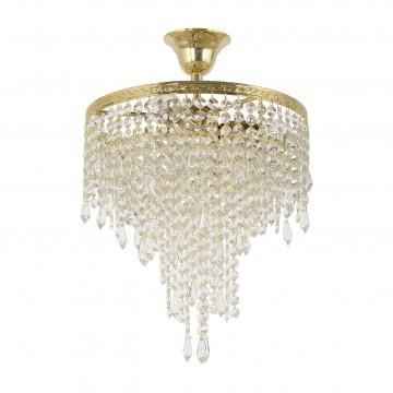 Люстра-каскад Arti Lampadari Prima E 1.3.30.600 G, 3xE27x60W, золото, прозрачный, металл, хрусталь