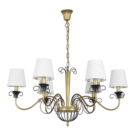 Подвесная люстра Arti Lampadari Lenola E 1.1.6 AG, 6xE14x40W, матовое золото, черный, белый, металл, текстиль