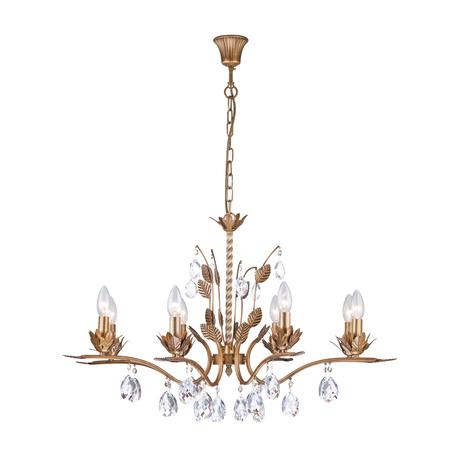 Подвесная люстра Arti Lampadari Merana E 1.1.8 AG, 8xE14x40W, матовое золото, прозрачный, металл, хрусталь