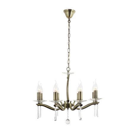 Подвесная люстра Arti Lampadari Monti E 1.1.8 A, 8xE14x40W, бронза с прозрачным, прозрачный, металл со стеклом, хрусталь
