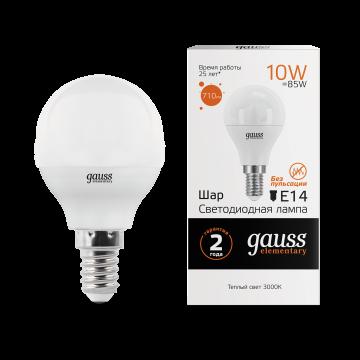 Светодиодная лампа Gauss Elementary 53110 шар E14 10W, 3000K (теплый) CRI>80 180-240V, гарантия 2 года