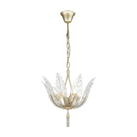 Подвесная люстра Odeon Light Hall Floweri 4838/4, 4xE14x40W, матовое золото, прозрачный, металл, стекло, металл с хрусталем