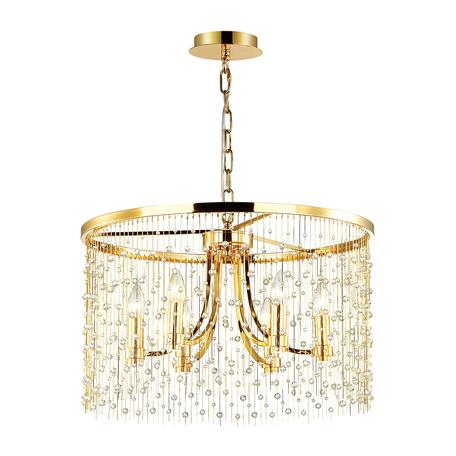 Подвесная люстра Odeon Light Hall Raini 4844/6, 6xE14x40W, золото, металл, металл с хрусталем