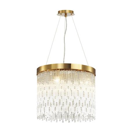 Подвесная люстра Odeon Light Hall Refano 4848/5, 5xE14x40W, золото, прозрачный, металл, хрусталь