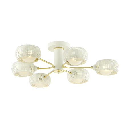 Потолочная люстра Lumion Moderni Noelle 4531/6C, 6xE14x40W, белый с золотом, белый, металл, металл со стеклом
