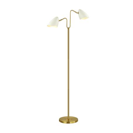 Торшер Lumion Moderni Madison 4540/2F, 2xE14x40W, матовое золото, белый, металл