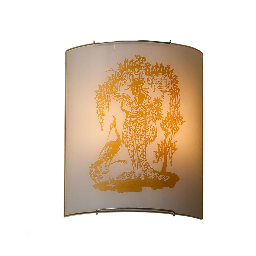 Настенный светильник Citilux Гейша CL922001, 2xE27x100W, хром, желтый, металл, стекло - фото 1