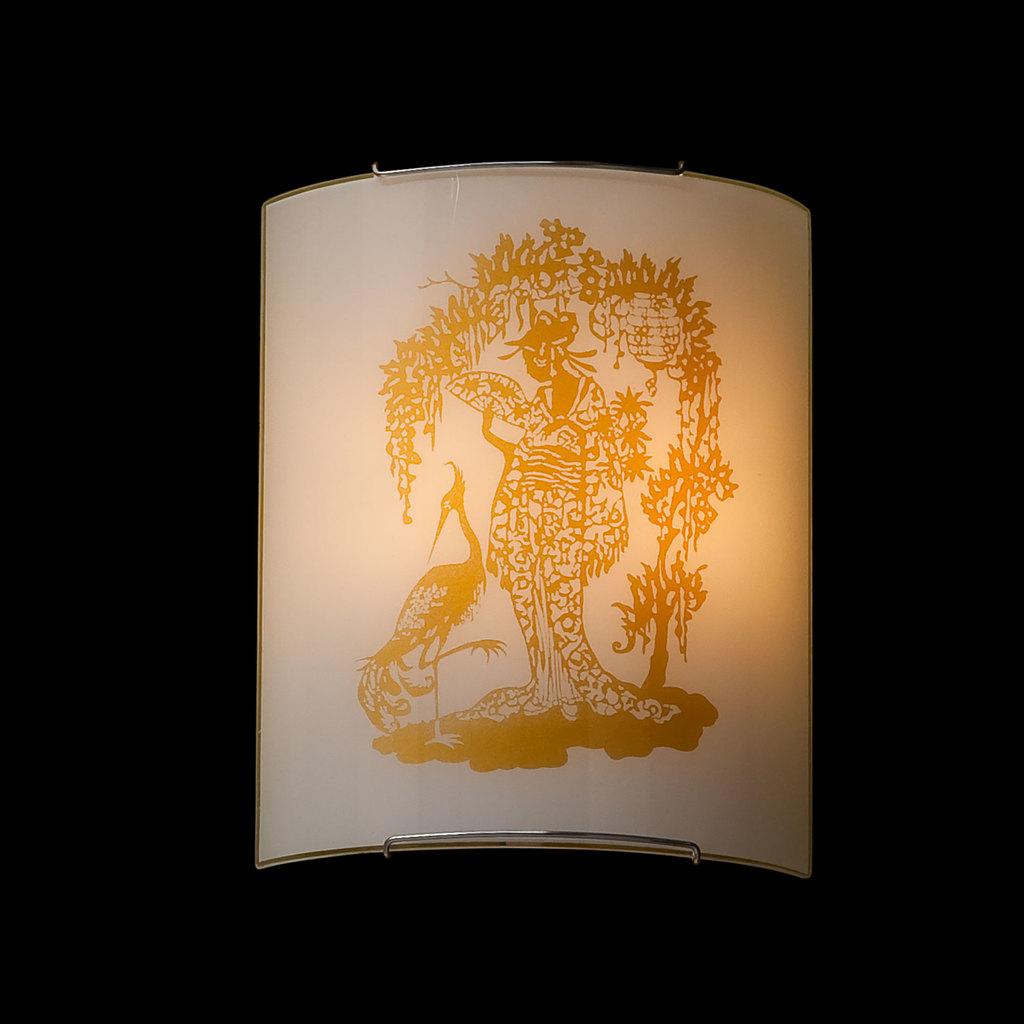Настенный светильник Citilux Гейша CL922001, 2xE27x100W, хром, желтый, металл, стекло - фото 2
