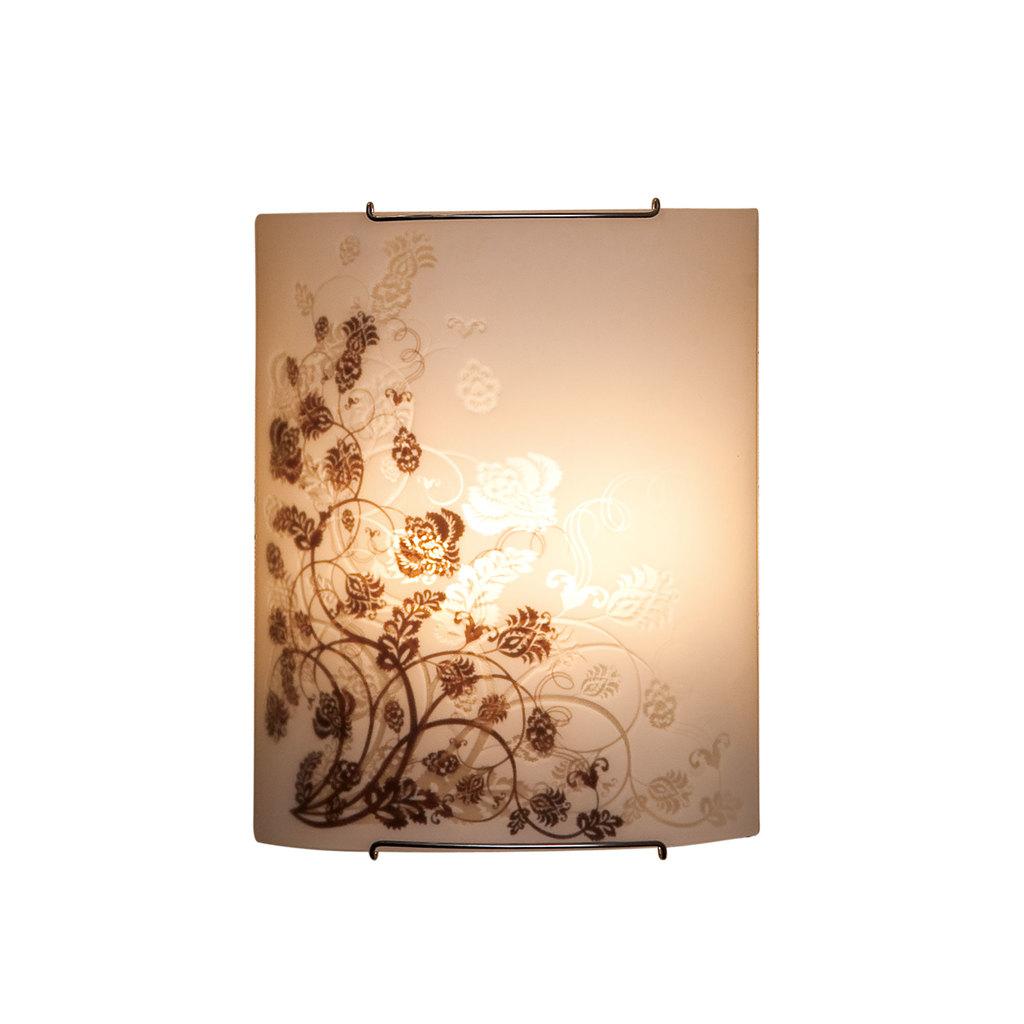 Настенный светильник Citilux Флора CL922015, 2xE27x100W, хром, белый, коричневый, металл, стекло - фото 1