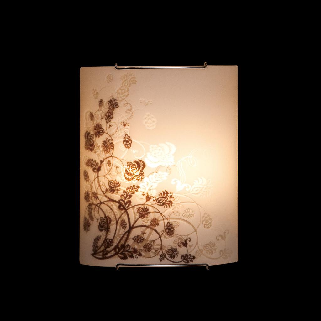 Настенный светильник Citilux Флора CL922015, 2xE27x100W, хром, белый, коричневый, металл, стекло - фото 2