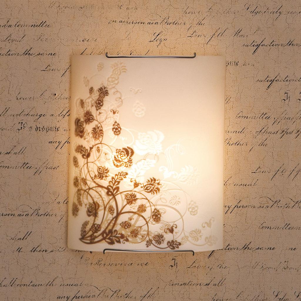 Настенный светильник Citilux Флора CL922015, 2xE27x100W, хром, белый, коричневый, металл, стекло - фото 3