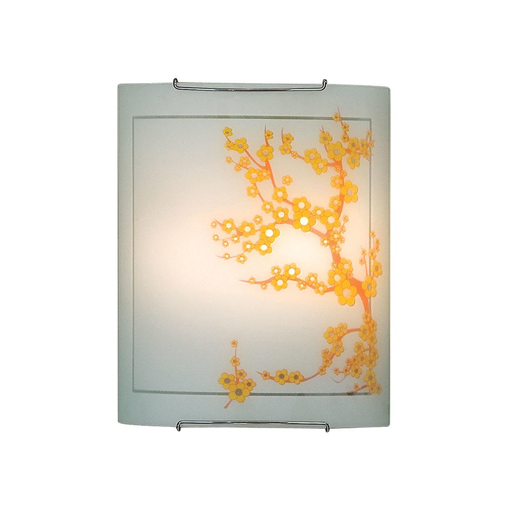 Настенный светильник Citilux Сакура CL922141, 2xE27x100W, хром, белый, желтый, металл, стекло - фото 1