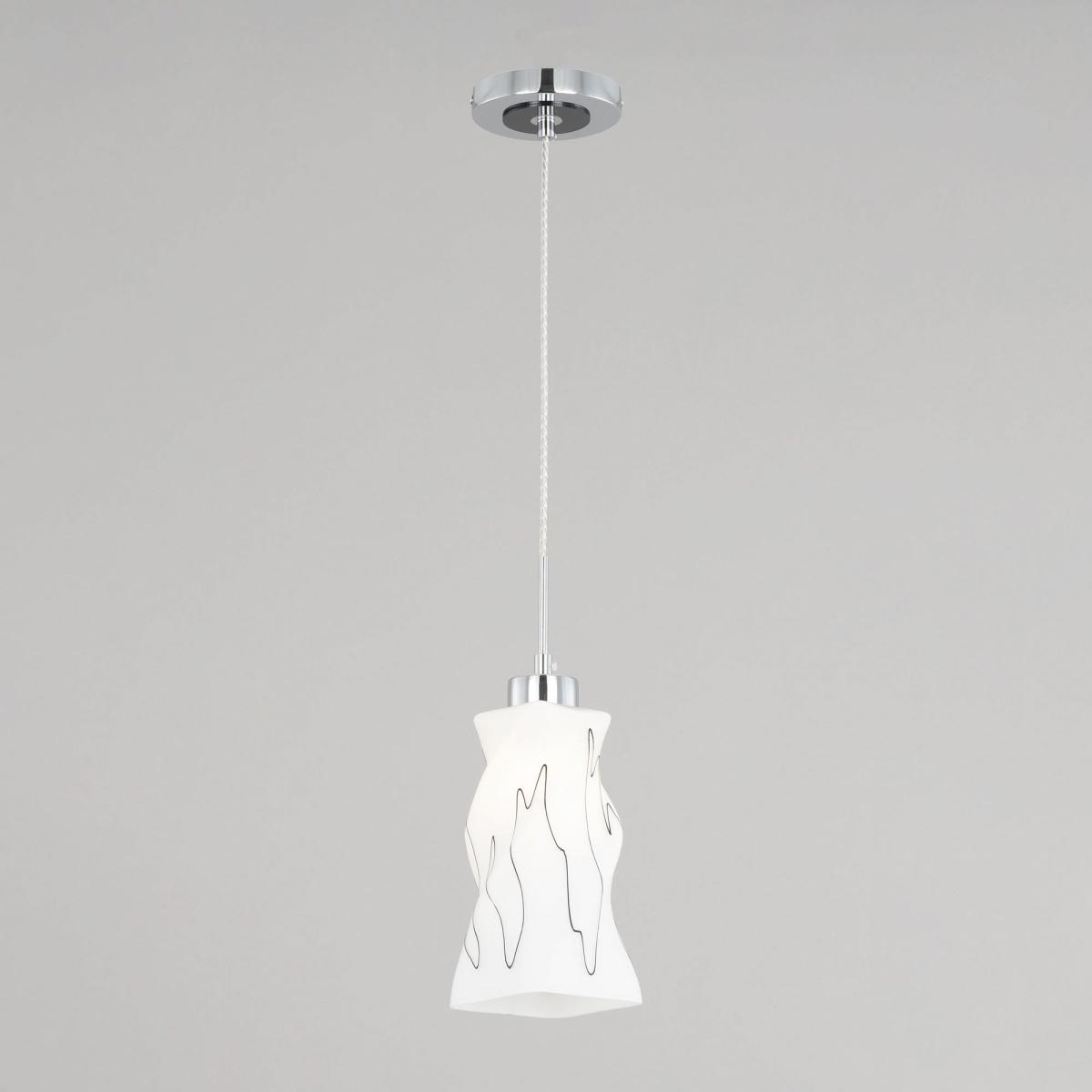 Подвесной светильник Citilux Спин CL943111, 1xE27x75W, хром, белый, металл, стекло - фото 1
