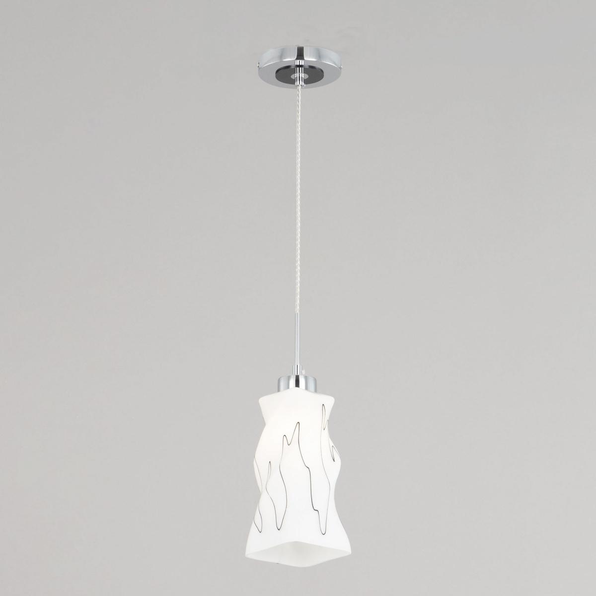 Подвесной светильник Citilux Спин CL943111, 1xE27x75W, хром, белый, металл, стекло - фото 2