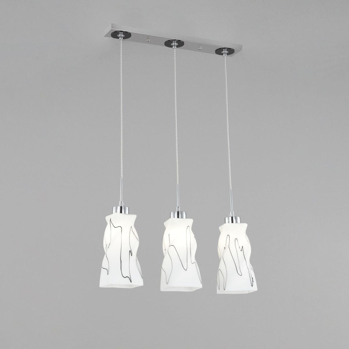 Подвесной светильник Citilux Спин CL943131, 3xE27x75W, хром, белый, металл, стекло - фото 3