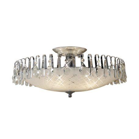 Потолочная люстра Citilux Амели CL916151, 5xE27x75W, хром, белый, прозрачный, металл, стекло, хрусталь
