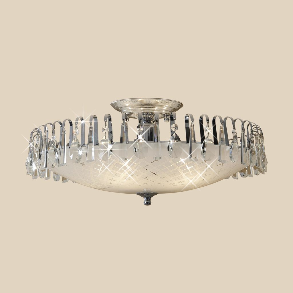 Потолочная люстра Citilux Амели CL916151, 5xE27x75W, хром, белый, прозрачный, металл, стекло, хрусталь - фото 3