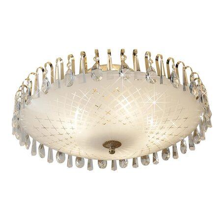 Потолочная люстра Citilux Амели CL916251, 5xE27x75W, золото, белый, прозрачный, металл, стекло, хрусталь