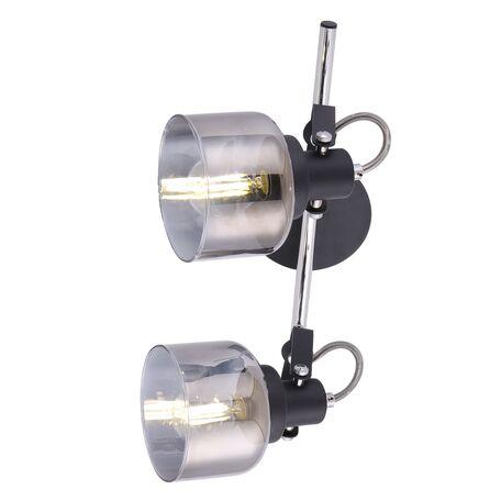 Потолочный светильник с регулировкой направления света Freya Evette FR5042CW-02B, 2xE14x40W, черный с хромом, дымчатый, металл, стекло