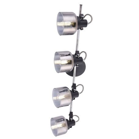 Потолочный светильник с регулировкой направления света Freya Modern Evette FR5042CW-04B, 4xE14x40W, черный, дымчатый, металл, стекло