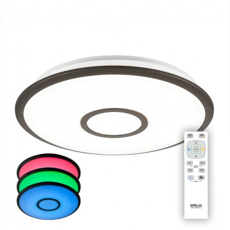 Потолочный светодиодный светильник с пультом ДУ Citilux Старлайт CL70335RGB, LED 30W 3000-4500K + RGB 2100lm, белый, венге, металл, металл с пластиком