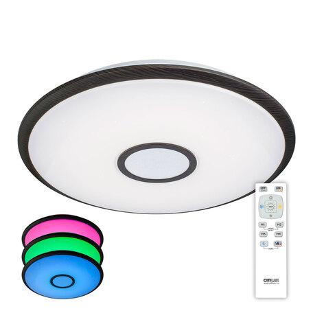 Потолочный светодиодный светильник с пультом ДУ Citilux Старлайт CL70385RGB, IP44, LED 80W 3000-4500K + RGB 5300lm, белый, венге, металл, металл с пластиком