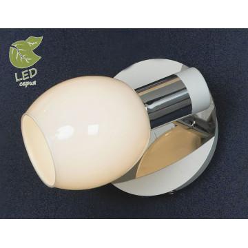 Настенный светильник с регулировкой направления света Lussole Loft Parma GRLSX-5001-01, IP21, 1xE14x6W, белый, хром, металл, стекло