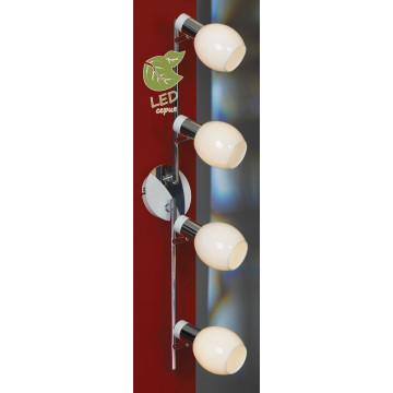 Потолочный светильник с регулировкой направления света Lussole Loft Parma GRLSX-5009-04, IP21, 4xE14x6W, белый, хром, металл, стекло