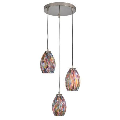 Люстра-каскад Reccagni Angelo L 10009/3, 3xE27x60W, серебро, разноцветный, металл, муранское стекло