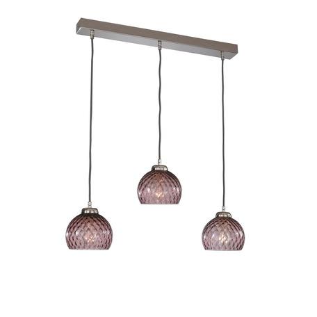 Подвесной светильник Reccagni Angelo B 10006/3, 3xE27x60W, серебро, фиолетовый, металл, стекло