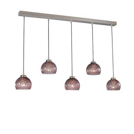 Подвесной светильник Reccagni Angelo B 10006/5, 5xE27x60W, серебро, фиолетовый, металл, стекло