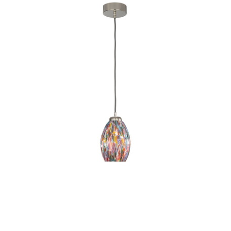 Подвесной светильник Reccagni Angelo L 10009/1, 1xE27x60W, серебро, разноцветный, металл, муранское стекло