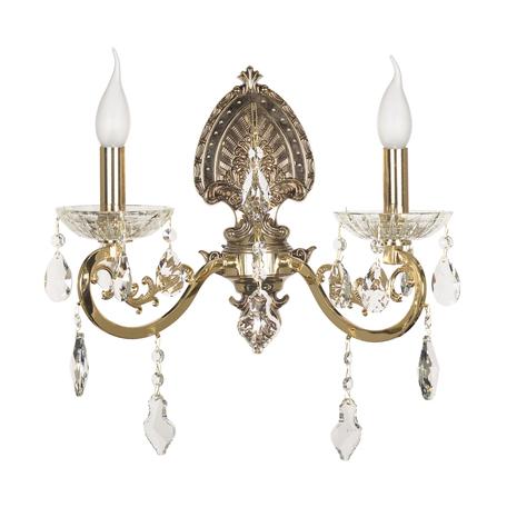 Бра Dio D'Arte Trento E 2.1.2 G, 2xE14x40W, прозрачный с золотом, прозрачный, металл, стекло, хрусталь