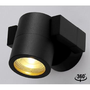 Настенный светильник с регулировкой направления света Crystal Lux CLT 020CW BL 1401/701, IP54, 1xGU10x35W, черный, металл