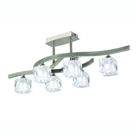 Потолочная люстра Mantra Cuadrax 0004023, 6xG9x33W, никель, прозрачный, металл, стекло