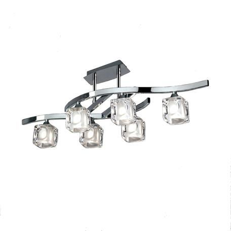 Потолочная люстра Mantra Cuadrax 0950, хром, прозрачный, металл, стекло