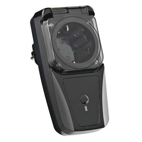 Штекерный радиовыключатель с розеткой SLV CONTROL BY TRUST 470808, IP44, черный